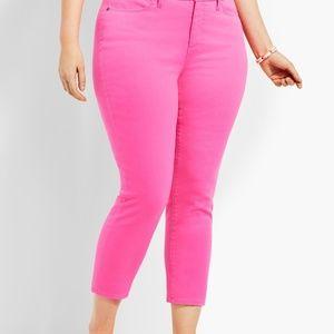 Talbots 14 Bright Pink Denim High Rise Crop Jeans